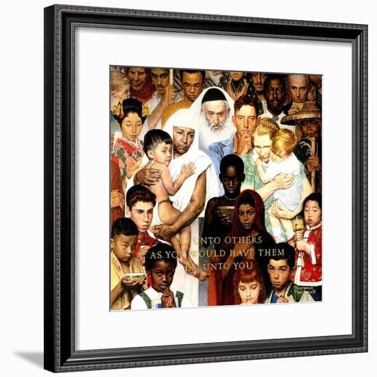 """""""Golden Rule"""" (Do unto others), April 1,1961-Norman Rockwell-Framed Premium Giclee Print"""