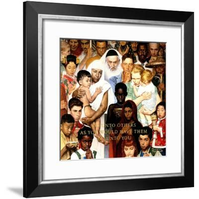 """""""Golden Rule"""" (Do unto others), April 1,1961-Norman Rockwell-Framed Giclee Print"""