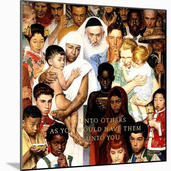 """""""Golden Rule"""" (Do unto others), April 1,1961-Norman Rockwell-Mounted Giclee Print"""