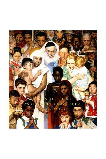 """""""Golden Rule"""" (Do unto others), April 1,1961-Norman Rockwell-Poster"""