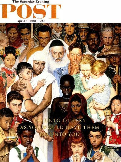 """""""Golden Rule"""" (Do unto others) Saturday Evening Post Cover, April 1,1961-Norman Rockwell-Giclee Print"""