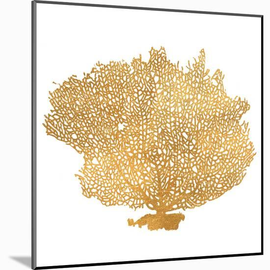 Golden Sea Fan I (gold foil)-Jairo Rodriguez-Mounted Art Print