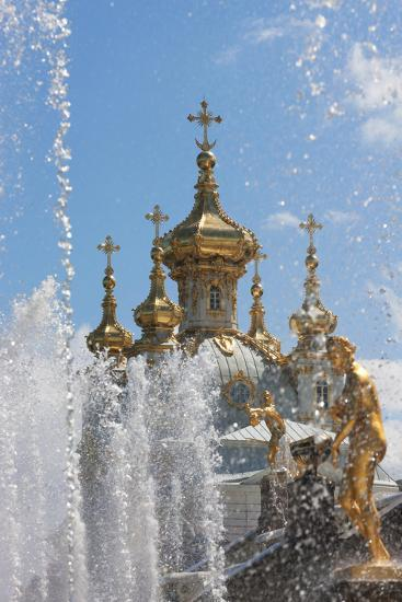 Golden Statues and Fountains of the Grand Cascade at Peterhof Palace, St. Petersburg, Russia-Martin Child-Photographic Print