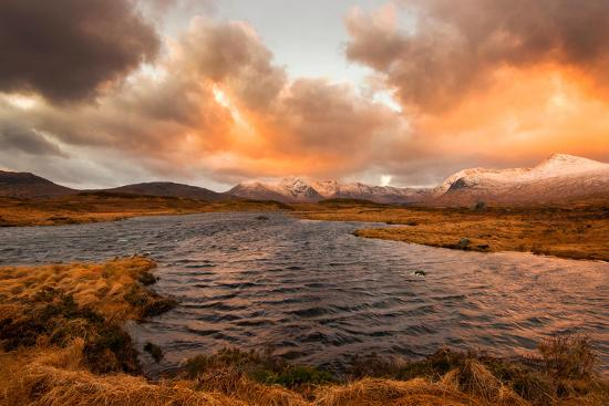 Golden Sunrise at Loch Ba in Glencoe, Scotland Uk-Tracey Whitefoot-Photographic Print