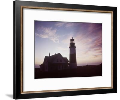 Golden Sunset at Nantucket, Mass. with Sankaty Head Lighthouse Silhouetted Against Sky-Andreas Feininger-Framed Premium Photographic Print