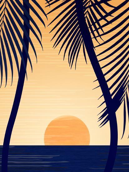 Golden Sunset With Palms-Modern Tropical-Art Print