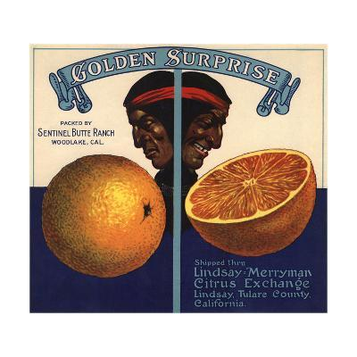 Golden Surprise Brand - Lindsay, California - Citrus Crate Label-Lantern Press-Art Print