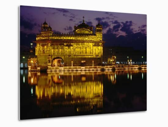 Golden Temple (Harmandir Sahib) on Waterfront, Amritsar, Punjab, India-Richard I'Anson-Metal Print