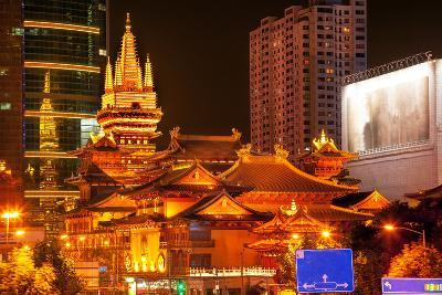 Golden Temples Roof Top Jing an Tranquility Temple, Central Shanghai, China-William Perry-Photographic Print