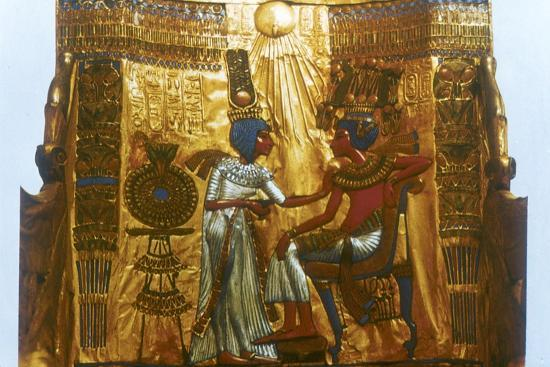 Golden throne of Tutankhamun, Ancient Egyptian, 18th dynasty, New Kingdom, 14th century BC-Unknown-Giclee Print