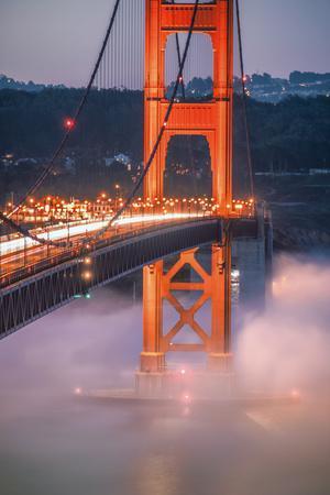 Golden Travels, Night Photography Golden Gate Bridge, San Francisco-Vincent James-Photographic Print