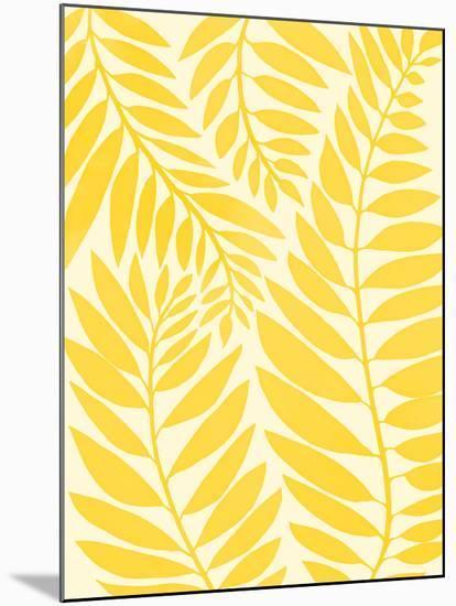 Golden Yellow Leaves-Modern Tropical-Mounted Art Print