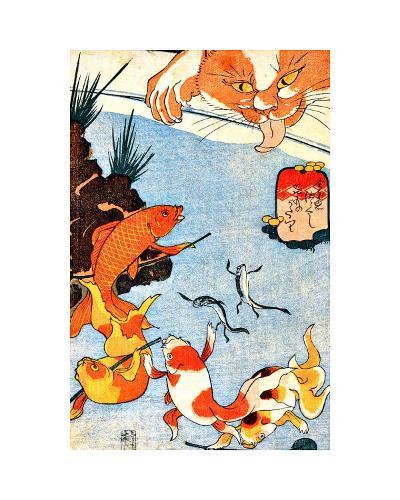 Goldfish and Cat--Giclee Print