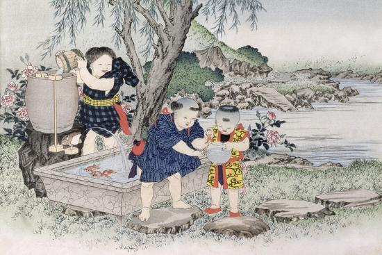 Goldfish from the Series 'Children's Games', 1888-Kobayashi Eitaku-Giclee Print