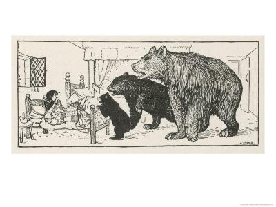 Goldilocks is Found in Baby Bear's Bed by the Three Bears-Henry Justice Ford-Giclee Print