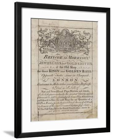 Goldsmiths and Silversmiths, Briscoe and Morrison, Trade Card--Framed Giclee Print
