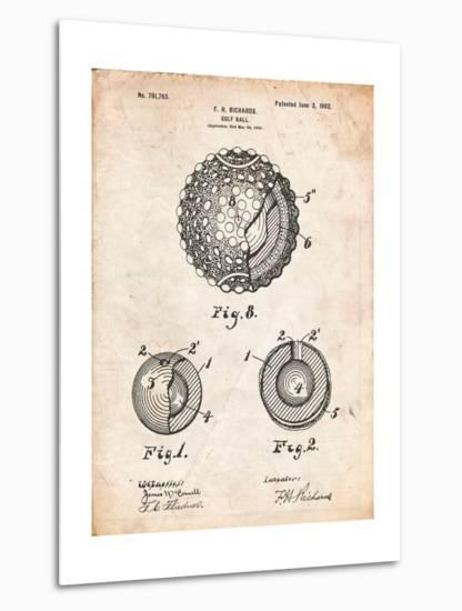 Golf Ball 1902 Patent-Cole Borders-Metal Print