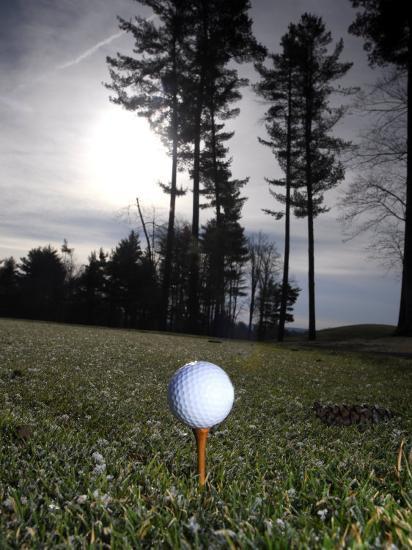 Golf Ball on a Tee at Twilight-Raul Touzon-Photographic Print