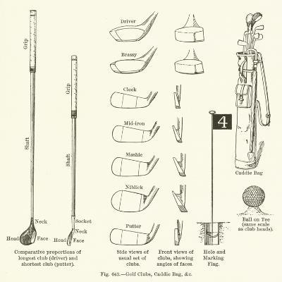 Golf Clubs, Caddie Bag, Etc--Giclee Print