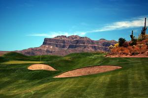 Golf Course at Foot of Mountain Range Scottsdale Arizona