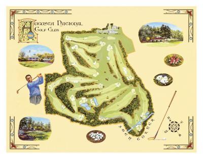Golf Course Map, Augusta-Bernard Willington-Art Print