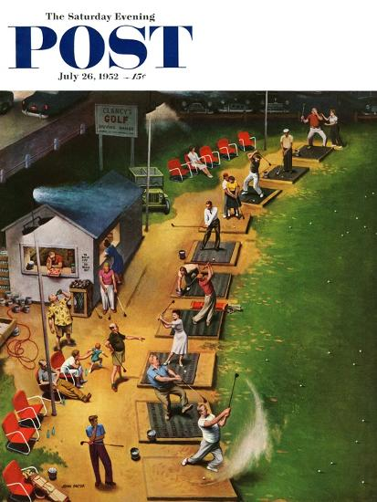 """Golf Driving Range"" Saturday Evening Post Cover, July 26, 1952-John Falter-Premium Giclee Print"