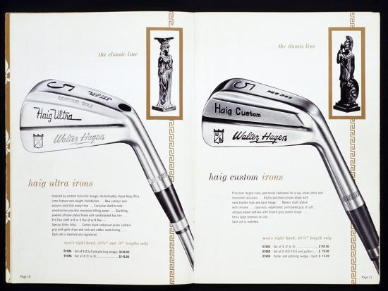 Golf irons from a golfing catalogue-Unknown-Giclee Print