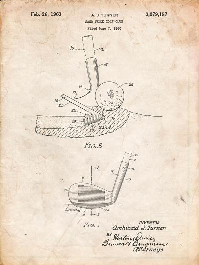 Golf Sand Wedge Patent-Cole Borders-Art Print