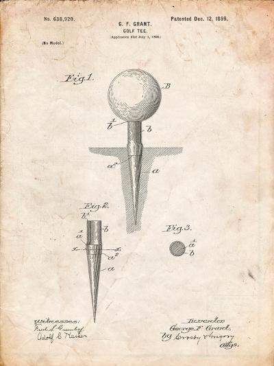 Golf Tee Patent-Cole Borders-Art Print