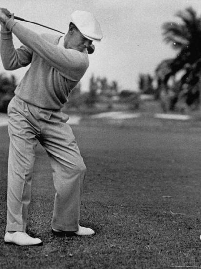Golfer Ben Hogan Keeping His Shoulders Level At Top Of Swing Premium Photographic Print By J R Eyerman Art Com