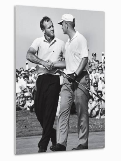 Golfer Jack Nicklaus and Arnold Palmer During National Open Tournament-John Dominis-Metal Print