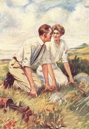 Golfing Couple Looking for Lost Ball