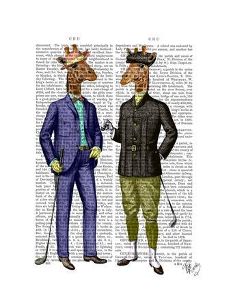 Golfing Giraffes-Fab Funky-Art Print