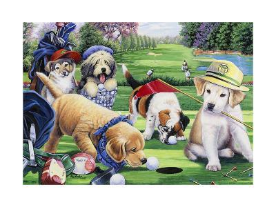 Golfing Puppies-Jenny Newland-Giclee Print