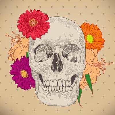 Vintage Card with Skull and Flowers on Beige Background. Day of the Death. Colorful Vector Illustra
