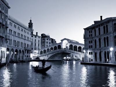 Gondola by the Rialto Bridge, Grand Canal, Venice, Italy-Alan Copson-Photographic Print
