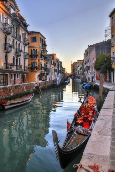 Gondolas Along the Canals of Venice, Italy-Darrell Gulin-Photographic Print