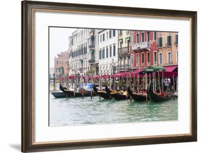 Gondolas and Restaurants at Grand Canal. Venice. Italy-Tom Norring-Framed Photographic Print