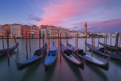 Gondolas at Dorsoduro, Venice, Veneto, Italy. in the Background the St. Mark's Bell Tower-ClickAlps-Photographic Print