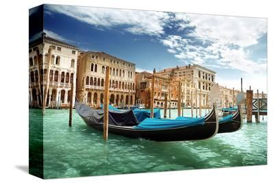 Gondolas In Venice Italy--Stretched Canvas Print