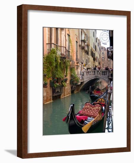 Gondolas Moored along Grand Canal, Venice, Italy-Lisa S^ Engelbrecht-Framed Photographic Print