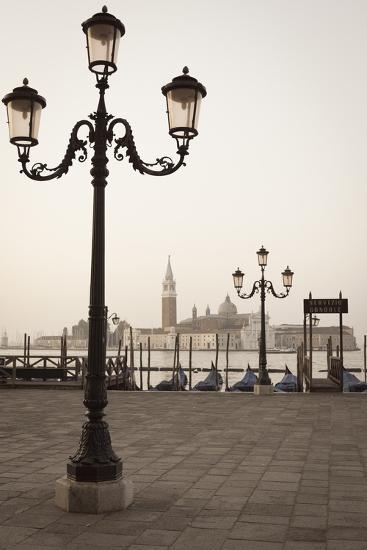 Gondolas Moored on the Lagoon, San Giorgio Maggiore Beyond, Riva Degli Schiavoni-Amanda Hall-Photographic Print