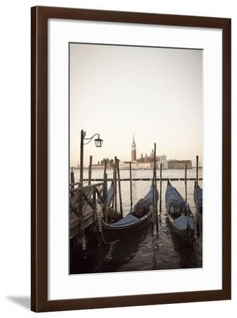 Gondolas Moored on the Lagoon, San Giorgio Maggiore Beyond, Riva Degli Schiavoni-Amanda Hall-Framed Photographic Print