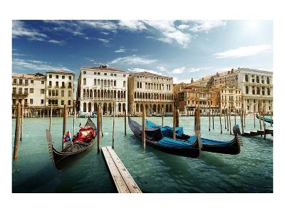Gondolas on Pier Venice Italy--Art Print