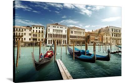 Gondolas on Pier Venice Italy--Stretched Canvas Print