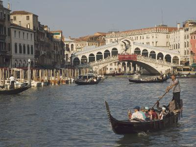 Gondolas on the Grand Canal at the Rialto Bridge, Venice, Unesco World Heritage Site, Veneto, Italy-James Emmerson-Photographic Print