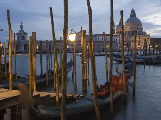 Gondolas on Waterfront at Night, Church Basilica, Venice, Unesco World Heritage Site, Veneto, Italy-Christian Kober-Photographic Print