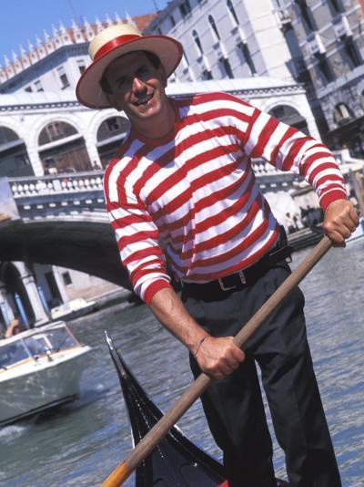 Gondolier Navigating a Gondola, Venice, Italy-Bill Bachmann-Photographic Print