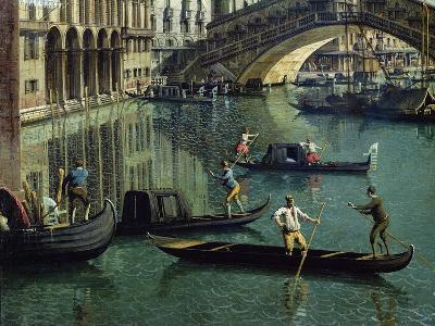 Gondoliers Near the Rialto Bridge, Venice (Detail)-Canaletto-Giclee Print
