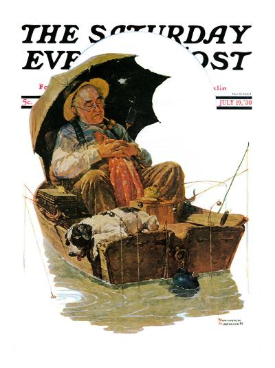 """""""Gone Fishing"""" Saturday Evening Post Cover, July 19,1930-Norman Rockwell-Giclee Print"""